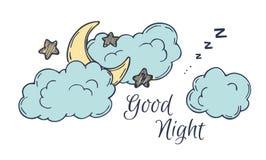 Hand drawn vector illustration - good night, card with moon Stock Photos