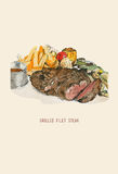 Hand drawn vector illustration of grilled Filet steak  assorted. With french fried , grilled vegetables and gravy sauce Stock Photo