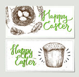Hand drawn vector illustration. Happy Easter! Design brochures w. Ith  illustrations of eggs, feathers,cake and nest. Perfect for invitations, greeting cards Stock Photography