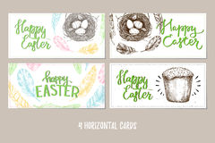 Hand drawn vector illustration. Happy Easter! Design brochures w. Ith  illustrations of eggs, feathers,cake and nest. Perfect for invitations, greeting cards Royalty Free Stock Images