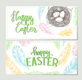 Hand drawn vector illustration. Happy Easter! Design brochures w. Ith  illustrations of eggs, feathers and nest. Perfect for invitations, greeting cards, blogs Stock Image