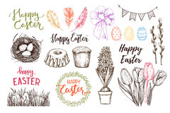 Hand drawn vector illustration. Happy Easter! Easter design elem. Ents eggs, feathers, nest, cake, lettering, flowers. Perfect for invitations, greeting cards royalty free illustration