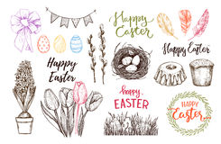 Hand drawn vector illustration. Happy Easter! Easter design elem Stock Images