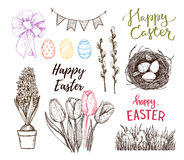 Hand drawn vector illustration. Happy Easter! Easter design elem. Ents eggs, feathers, nest, cake, lettering, flowers. Perfect for invitations, greeting cards Royalty Free Stock Photos