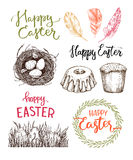 Hand drawn vector illustration. Happy Easter! Easter design elem. Ents eggs, feathers, nest, cake, lettering. Perfect for invitations, greeting cards, blogs stock illustration