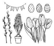 Hand drawn vector illustration. Happy Easter! Easter design elem. Ents eggs, garland, tulips, hyacinth. Perfect for invitations, greeting cards, blogs, posters Stock Photos