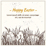 Hand drawn vector illustration - Happy Easter! Eggs on grass Stock Images