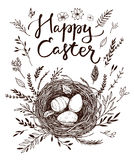 Hand drawn vector illustration. Happy Easter! Spring nest with b. Ird eggs. Perfect for invitations, greeting cards, blogs, posters and more Royalty Free Stock Photos