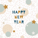 Hand drawn vector illustration - Happy new year in the style of. 80's. Pattern with abstract elements. Memphis design. Retro background. Perfect for invitations stock illustration