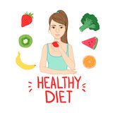 Hand drawn vector illustration -  Healthy diet. Stock Photography