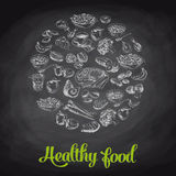 Hand drawn vector illustration with healthy food Royalty Free Stock Images