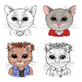 Hand-drawn vector illustration. Hipster cats. Vintage. Isolated Royalty Free Stock Images