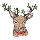 Hand-drawn vector illustration. Hipster deer with red bow Stock Images