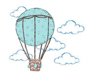 Hand drawn vector illustration - hot air balloon in the sky.. Perfect for prints, posters, invitations etc Royalty Free Stock Photography