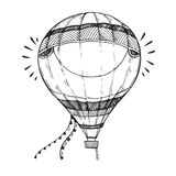 Hand drawn vector illustration - hot air balloon in the sky. Ske Stock Image