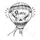 Hand drawn vector illustration - hot air balloon in the sky. Stock Image