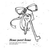 Hand drawn vector illustration - House keys. Home sweet home Stock Photos