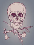 Hand drawn vector illustration with human skull, tomahawk and ca Stock Images