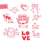 Hand drawn vector illustration - I love you doodle icon set isol. Ated Royalty Free Stock Images