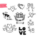 Hand-drawn vector illustration - I love you doodle icon set Stock Photo