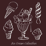 Hand drawn vector illustration of ice cream collection. Royalty Free Stock Image