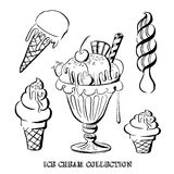 Hand drawn vector illustration of ice cream collection. Stock Image