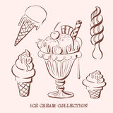 Hand drawn vector illustration of ice cream collection. Royalty Free Stock Photos