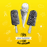 Hand drawn vector illustration with ice Cream Royalty Free Stock Photos
