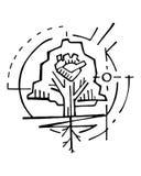 Human heart and tree symbol vector ink illustration Royalty Free Stock Photo
