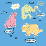 Cute and funny dino set. vector illustration
