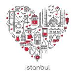 Hand drawn vector illustration Istanbul of famous turkish symbols in heart shape. stock illustration