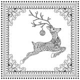 Hand Drawn Vector Illustration of Jumping Deer silhouette. With decorative ornament, Merry Christmas Card.Vector illustration for coloring book page design Royalty Free Stock Photos