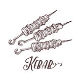 Hand drawn vector illustration of kebab on skewers. Meat on the grill. Cartoon style kebab on a white background. Meat food. Traditional meat dish on fire stock illustration