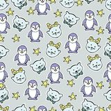 Hand drawn vector illustration. kittens and penquins Stock Image