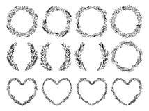 Hand drawn vector illustration - Laurels and wreaths. Design ele Stock Image