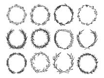 Hand drawn vector illustration - Laurels and wreaths. Design elements for invitations, greeting cards, posters and more. Perfect For Wedding Frames Royalty Free Stock Image