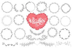 Laurels and wreaths hand drawn vector illustration. Design elements for invitations, greeting cards, quotes, blogs stock illustration