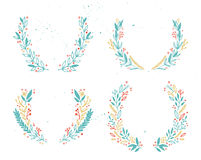 Hand drawn vector illustration - Laurels and wreaths. Royalty Free Stock Photo