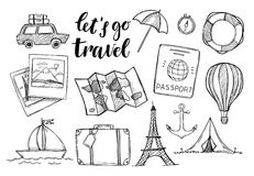Free Hand Drawn Vector Illustration. Let`s Go To Travel. Tourism And Royalty Free Stock Image - 86228906