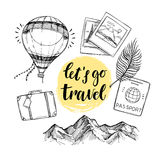 Hand drawn vector illustration. Let`s go to travel. Tourism and. Traveling elements suitcase, mountain, passport, palm branch, air balloon.  Perfect for Royalty Free Stock Photo