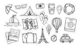 Hand drawn vector illustration. Let`s go to travel. Tourism and Royalty Free Stock Photos