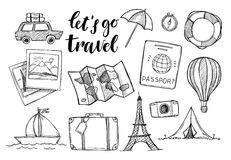 Hand drawn vector illustration. Let`s go to travel. Tourism and Stock Photo