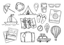 Hand drawn vector illustration. Let`s go to travel. Tourism and Stock Photography
