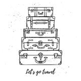 Hand drawn vector illustration - Let's go travel. Fashion suitca royalty free illustration