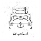 Hand drawn vector illustration - Let's go travel. Fashion suitca Royalty Free Stock Photos