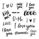 Hand drawn vector illustration - Lettering phrases about love. S Royalty Free Stock Photos