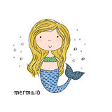 Hand drawn vector illustration with little mermaid cute print.  Royalty Free Stock Image
