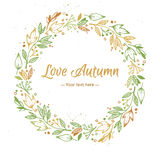 Hand Drawn vector illustration - Love Autumn, card with wreath. Royalty Free Stock Photo