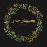 Hand Drawn vector illustration - Love Autumn, card with wreath. Stock Photography