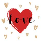 Hand drawn vector illustration. Love and heart. Poster. Royalty Free Stock Images